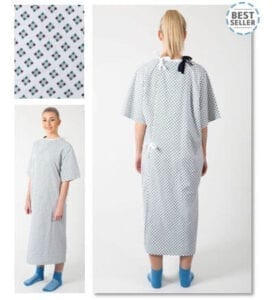 Lapover patient hospital gown