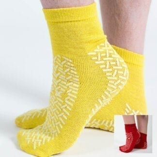 Fall prevention slipper socks in yellow and red
