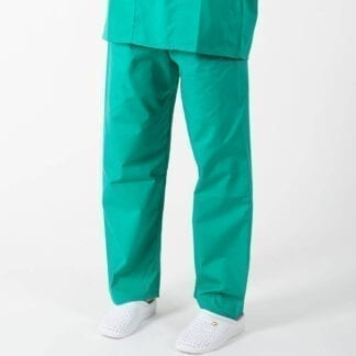 green scrub trousers